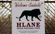 Hlane Nationalpark Hinweisschild, Swaziland
