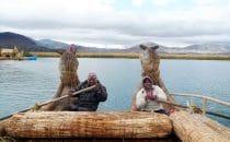 Überfahrt mit einem Schilfboot, Titicacasee, Peru