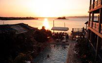 Abendstimmung am Pool, Flores, Guatemala