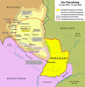 Umkämpfte Gebiete während des Chacokrieges