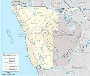 Karte Namibia Flußläufe