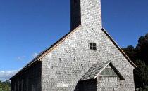 typische Holzkirche auf Chiloé, Chile