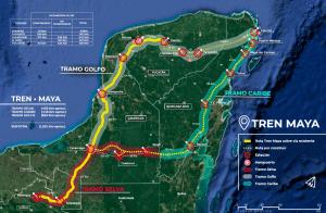 """Karte der geplanten Strecke des """"Tren Maya"""""""