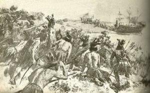 Einheimische, die ihn kurz darauf töten würden, beobachten den Landgang des Juan Díaz de Solís am Río de la Plata