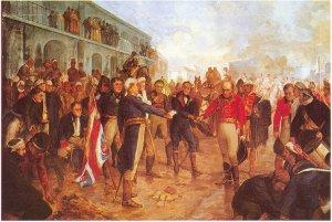 William Carr Beresford, General der britischen Expeditionstruppen, ergibt sich dem in spanischen Diensten stehenden Franzosen Santiago de Liniers. Dieser galt als Held der Wiedereroberung von Buenos Aires, wurde anschließend sogar vom Cabildo (eine Art Stadtrat) und der Real Audiencia zum Vizekönig des Río de la Plata ernannt, aber schließlich als Konterrevolutionär 1810 standrechtlich erschossen.
