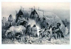 Darstellung eines typischen Zeltlagers (aik oder aiken) der Tehuelche, Patagonien, Argentinien
